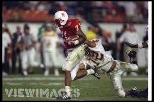 Damon Benning Breaks tackle durin a run in his 1996 MVP  winning Orange Bowl Performance against Virginia Tech