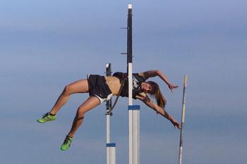 Papillion-La Vista South senior Lizzy Stanton ties season's best mark in the pole vault photo.