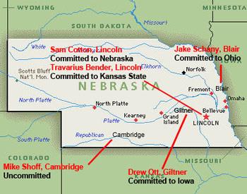 Nebraska HS Class of 2012 D-1A Football Offers Map